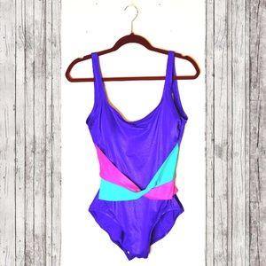 VINTAGE PLUS 80's Colorblock Swimsuit